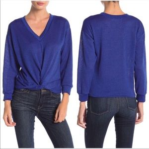 LUSH V Neck Blue knit sweater pullover Large